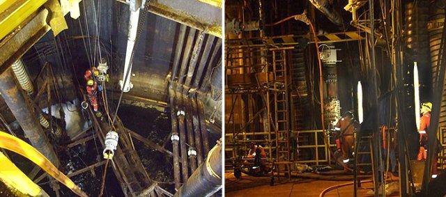 Pipework Deconstruct. Deep inside the platform leg, 100m below sea level