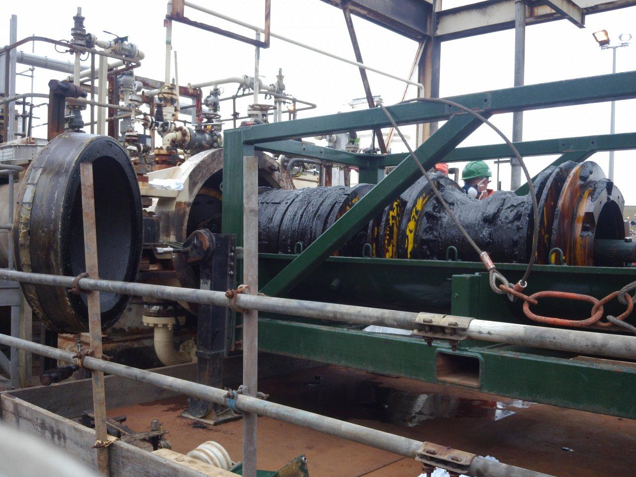 """36"""" Remote Tecno Plug, Cormorant Alpha Platform, North Sea, UK"""