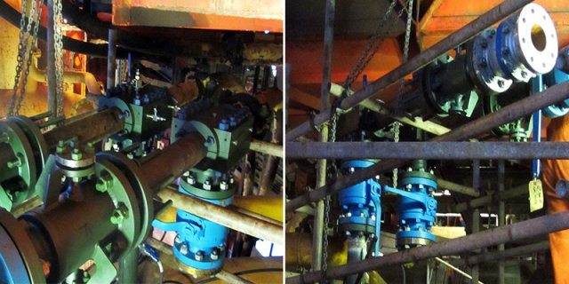 (Left) Flowlines isolated, mechanical connectors and valves installed. (Right) Full bore access to the flowlines to allow Fexi-Coil entry